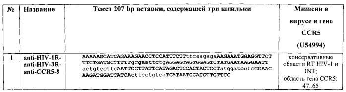 Кассетная генетическая конструкция, экспрессирующая две биологически активные siphk, эффективно атакующие транскрипты вич-1 субтипа а у больных в россии, направленные на мphk обратной транскритазы и интегразы, и одну siphk, направленную на мphk гена ccr5