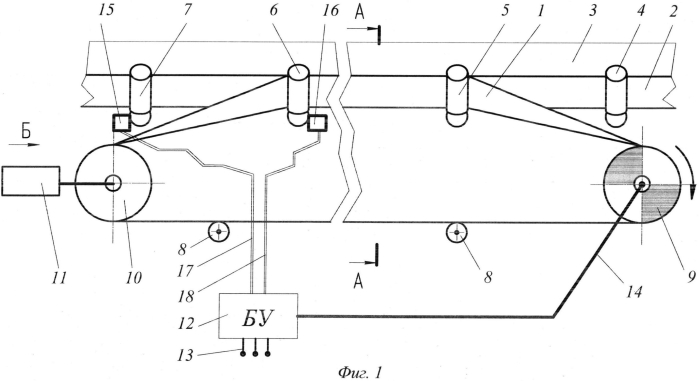 Промежуточный привод ленточного конвейера и способ управления им