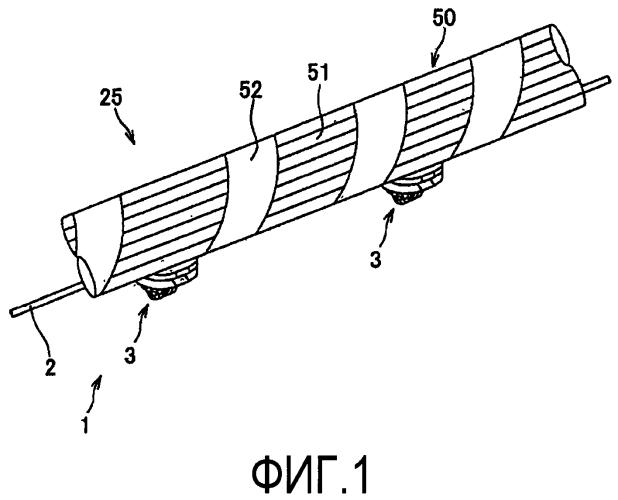 Электропровод, прикрепленный к внешней детали, жгут проводов, включающий в себя такой электропровод, прикрепленный к внешней детали, и способ его изготовления
