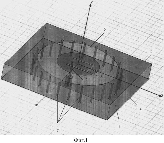 Дисковая печатная антенна с е-образной щелью