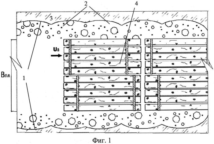 Способ проводки древесины в плотах в период ледового режима на внутренних водных путях