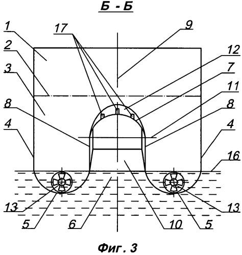 Корпус судна туннельно-скегового типа