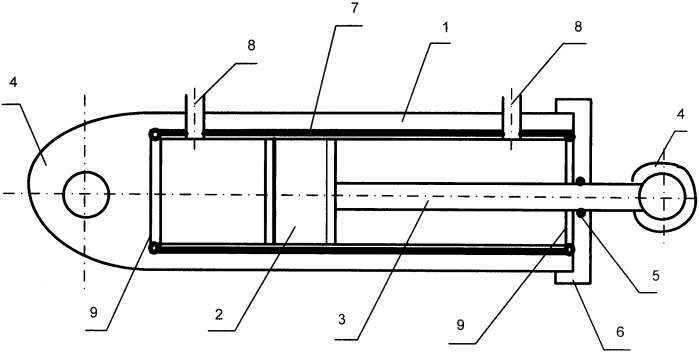 Гидроцилиндр с тонкостенным цилиндром