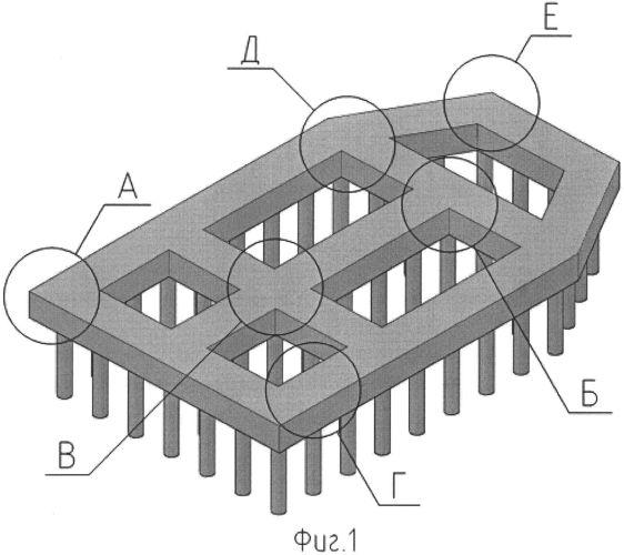 Вдавливаемый микросвайный фундамент с частью ростверка