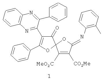 Диметиловый эфир 2-[(2-метилфенил) имино]-9-оксо-7-фенил-8-(3-фенил-2-хиноксалинил)-1,6-диоксаспиро[4.4]-нон-3,7-диен-3,4-дикарбоновой кислоты, проявляющий антиноцицептивную активность, и способ его получения