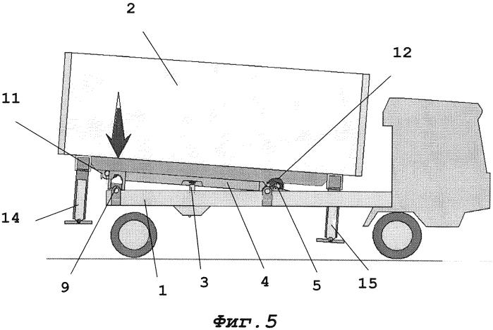 Транспортное средство с устройством для замены сменных кузовов на стойках