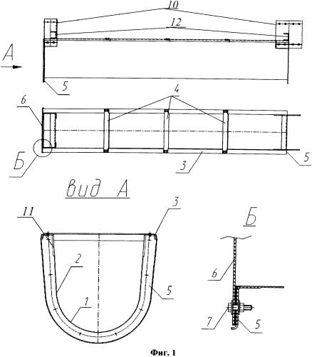 Лоток водоотводный подвесной из полимерных композиционных материалов (варианты)