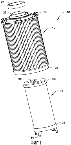 Двухступенчатый водоотделитель для топлива и фильтр для отделения твердых частиц