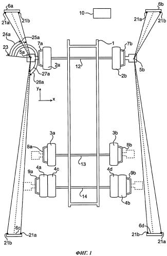 Способ и система для определения углов установки колес транспортного средства