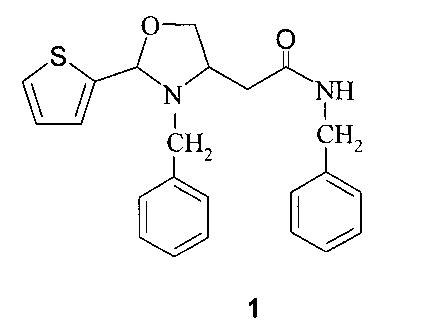 N-бензил-2-(3-бензил-2-тиофен-2-ил-1,3-оксазолидин-4-ил)ацетамид, активирующий прорастание семян озимой пшеницы