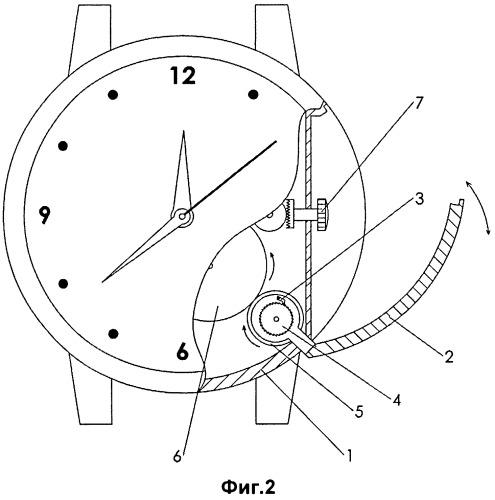 Часы с устройством завода часового механизма