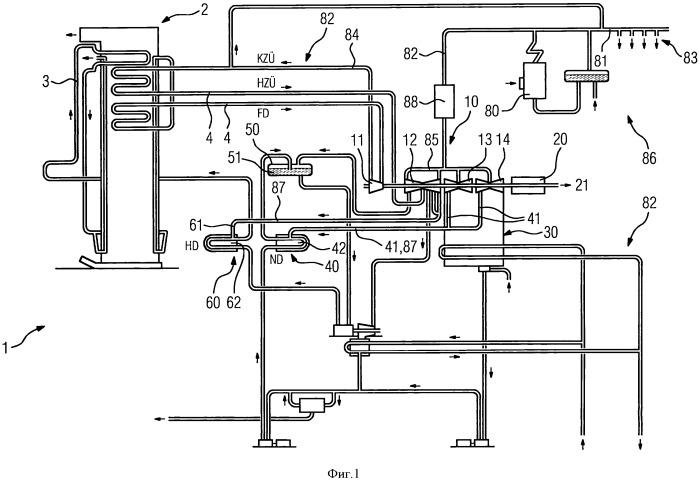 Вспомогательный парогенератор в качестве дополнительного средства регулирования частоты или средства первичного и/или вторичного регулирования в пароэлектростанции