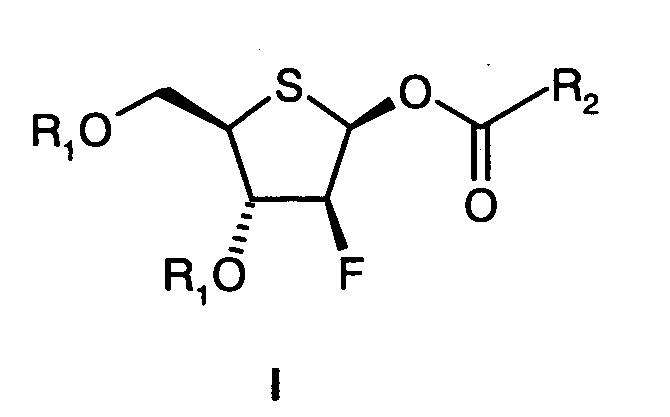 Способ получения замещенных 1-о-ацил-2-дезокси-2-фтор-4-тио-β-d-арабинофураноз