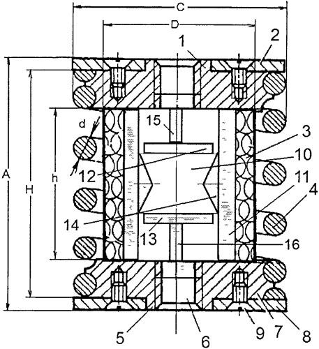 Упругий элемент кочетова с сетчатым демпфером