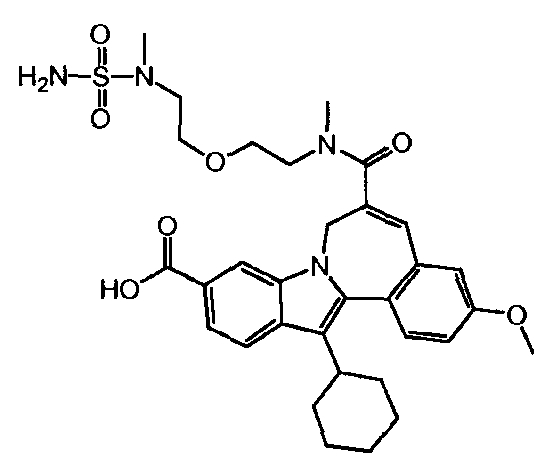 Получение 13-циклогексил-3-метокси-6-[метил-(2-{2-[метил-(сульфамоил)-амино]-этокси}-этил)-карбамоил]-7н-индоло-[2,1-α]-[2]-бензазепин-10-карбоновой кислоты