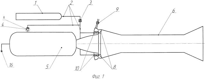 Установка для гашения работающего ракетного двигателя твердого топлива при испытаниях в газодинамической трубе