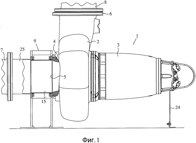 Всасывающее соединение, предназначенное для соединения всасывающей трубы с центробежным насосом, установленным сухим