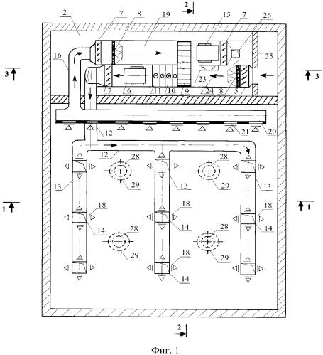Система воздухораспределения в загруженных помещениях