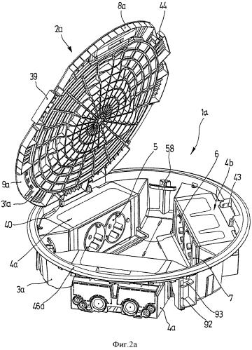 Напольная электрораспределительная коробка, включающая в себя соединительные модули, предназначенные для адаптации электрических, радиотелефонных, информационных и мультимедийных устройств или других типов аппаратуры в ее внутренней части