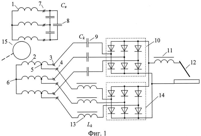 Асинхронный сварочный генератор с двумя трехфазными обмотками на статоре и конденсаторно-дроссельным компаундированием