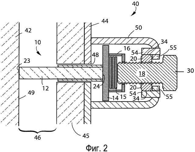 Поджимающий механизм со стержнем, используемый в конструкции для содержания расплавленного металла
