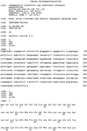 Новые цитокины птиц и кодирующие их генетические последовательности