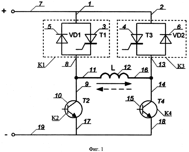 Реверсивный полупроводниковый коммутатор, работающий на индуктивную нагрузку