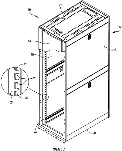 Система и способ установки устройств высотой, кратной 1u, без использования инструментов