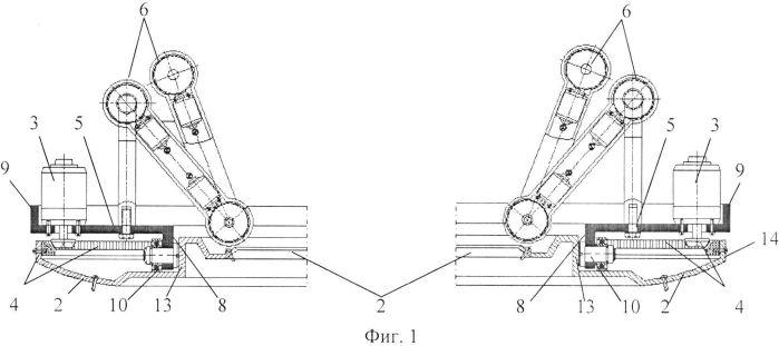 Функциональная структура одновременного возвратно-поступательного разворота группы выдвижных элементов для захвата и удержания диагностических и хирургических корпусов в тороидальной робототехнической системе с выдвижной крышкой (вариант русской логики - версия 2)