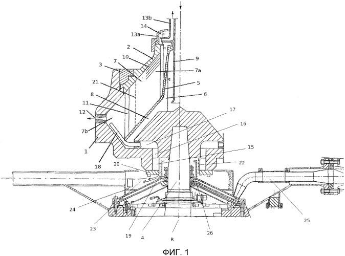 Устройство и способ для мониторинга и регулирования радиального положения слоя на границе раздела в центрифуге с выгружающими соплами