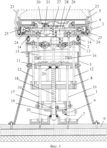 Функциональная структура возвратно-поступательного вертикального смещения медицинского стола с тороидальной робототехнической системой с диагностическими и хирургическими элементами (вариант русской логики - версия 2)