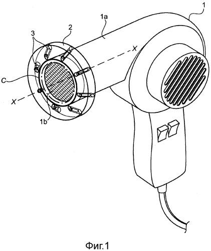Устройство, испускающее излучение в красной области спектра, приспособленное для использования с феном и со средством по уходу за волосами