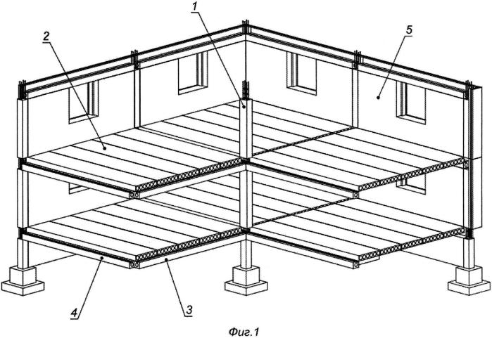 Панельно-каркасное здание, сооружение с интегрированными в наружные панели элементами каркаса