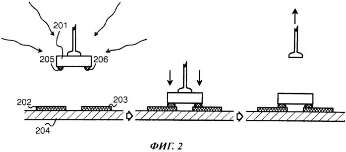 Способ и устройство для присоединения чипа к печатной проводящей поверхности