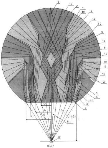 Способ размещения системы зеркал в прозрачном теле