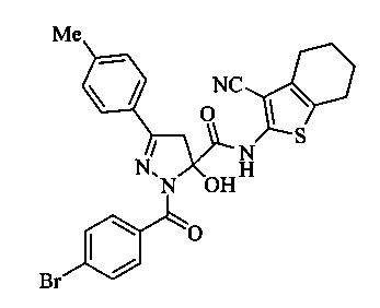 N-(3-циано-4,5,6,7-тетрагидробензо[b]тиен-2-ил)амид 1-(4-бромбензоил)-5-гидрокси-3-(4-метилфенил)-4,5-дигидро-1h-пиразол-5-карбоновой кислоты, обладающий анальгетической активностью