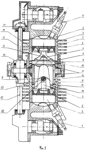 Четырёхтактный бескривошипный поршневой тепловой двигатель с оппозитным расположением цилиндров