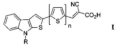 8-алкил-2-(тиофен-2-ил)-8h-тиофен[2,3-b]индол замещенные2-цианоакриловые кислоты, способ их получения и используемые для этого новые промежуточные соединения