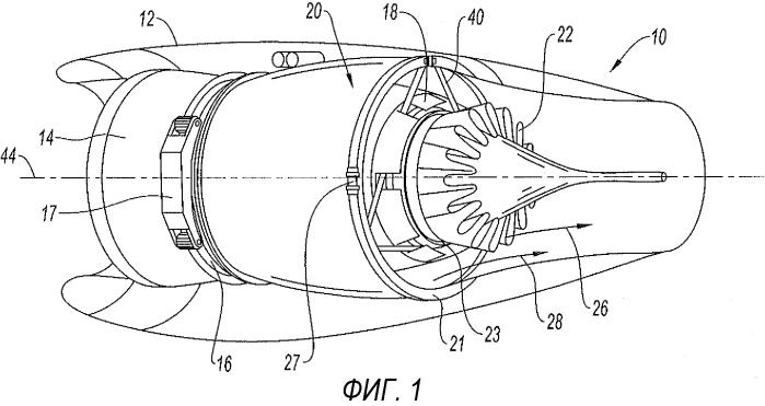 Узел двухконтурного турбореактивного двигателя и двухконтурный турбореактивный двигатель