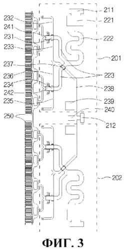 Контур усилителя с перекрестной разводкой сигналов постоянного тока и свч-сигналов