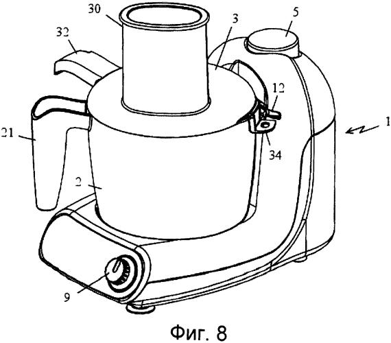 Электробытовое устройство для приготовления пищи, содержащее емкость, в которой находится режущий инструмент, приводимый во вращение двигателем