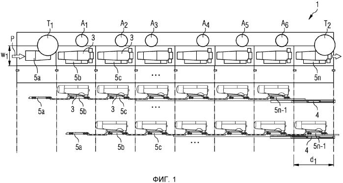 Способ функционирования поточной линии, сборочный прицеп, буксирная тяга, тяжелая машина, установленная на сборочном прицепе, и поточная линия