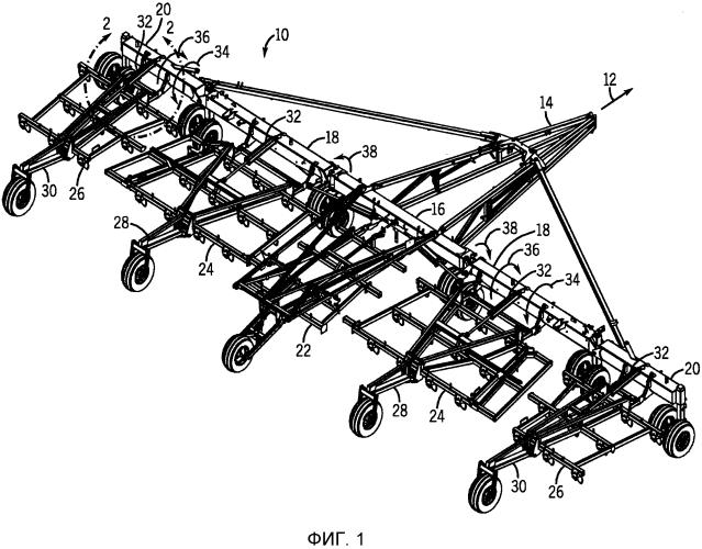 Система привода рабочей рамы сельскохозяйственного орудия