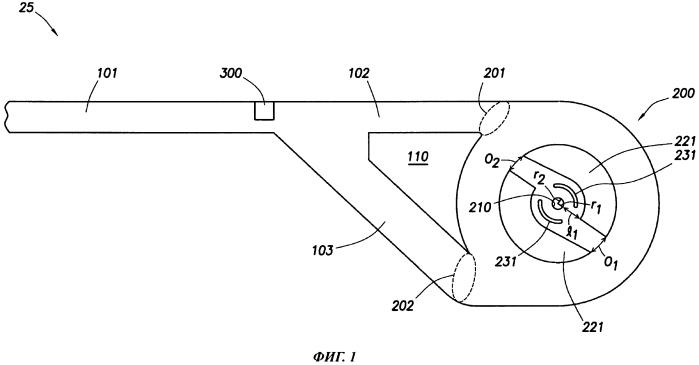 Выпускной узел с устройством направления флюида для формирования и блокировки вихревого потока флюида