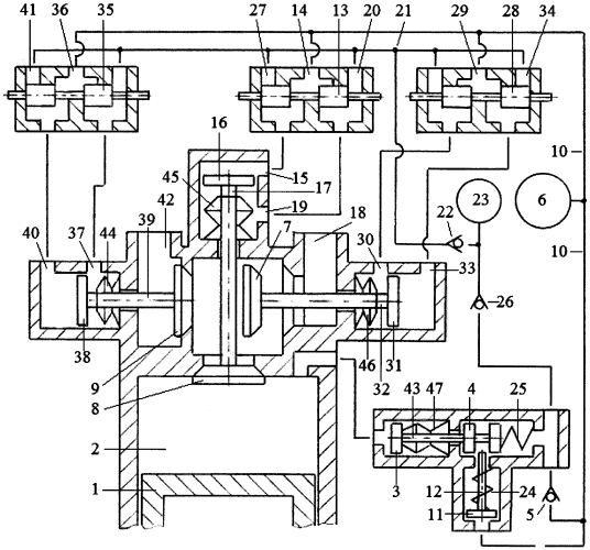 Способ привода клапанов трёхклапанного газораспределителя двигателя внутреннего сгорания гидравлической системой привода с зарядкой гидроаккумулятора системы привода жидкостью из компенсационного гидроаккумулятора