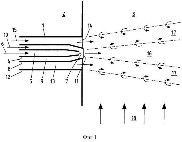 Способ и многокомпонентное сопло для восстановления нежелательных веществ в дымовых газах и топочная камера парогенератора
