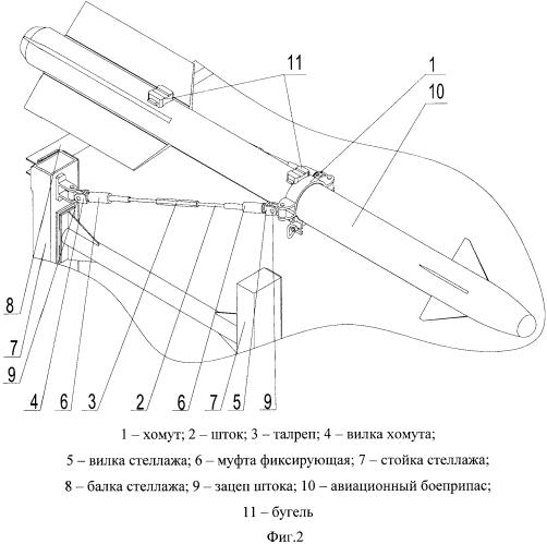 Устройство удержания авиационных боеприпасов за выступающие элементы подвески авиационных боеприпасов на стеллаже
