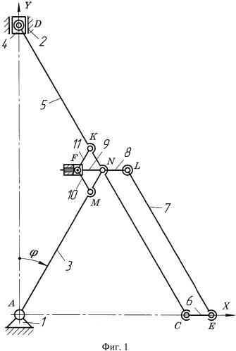 Кривошипно-ползунный механизм богданова со звеном, движущимся прямолинейно-поступательно
