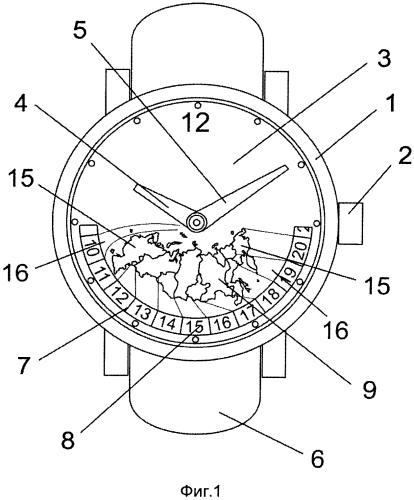 Часы с индикацией времени в часовых зонах россии (варианты) и способ осуществления одновременной индикации времени во всех часовых зонах россии