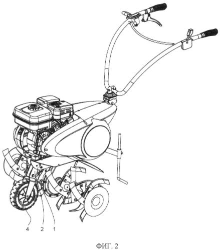 Мотоблок с убирающимся транспортным колесом
